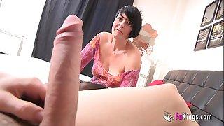 Spanish squirting mature licks Jordi's big cock