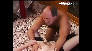 Mature man shags a young slut doggystyle