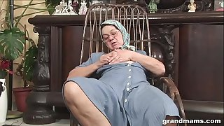 Knitting 70 year old grandma sucks and fucks like a champ