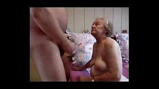 Very old grandma having fun. Amateur older