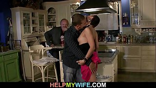 Bitchy wife is fucked on the table