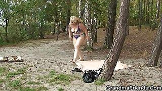 Hot grandma gives double head