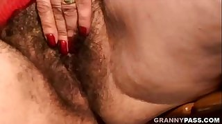Granny With Extremely Hairy Pussy Gets Fucked