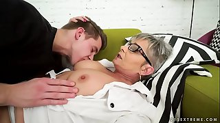 Lusty grandma vs young big cock - Jessye, Oliver