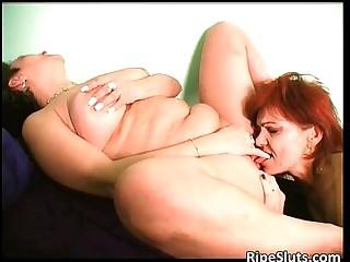 Two horny lesbian grannies enjoying