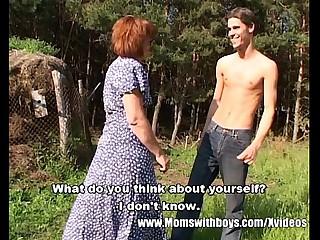 Skinny Farm Boy Outdoor Sex With Redhead Granny