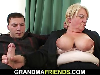 Drunk blonde granny double penetration