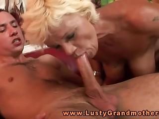 Blonde amateur granny riding on dick