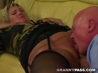 Grandpa pounds chubby granny pussy