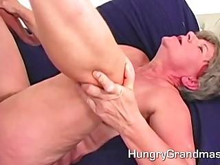 Hot sperm on a grannys belly