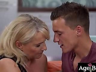Horny granny Jana takes Dom's big hard cock
