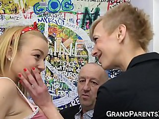 Granny helps grandad drill cute teenie