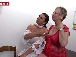 Horny Granny and Her Daughter Fuck Their Neighbor