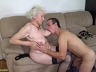 hairy 91 years old granny gets deep banged by her young big cock toyboy