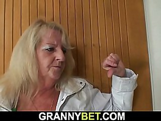 Hairy granny picked up for young cock riding