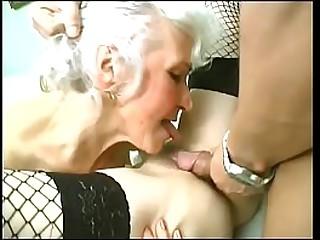 Redhead and blonde granny BBW sluts share big dick