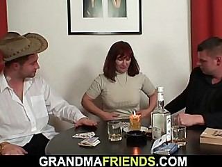 Hairy granny in black stockings takes double fuck