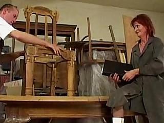 Redhead granny loves anal