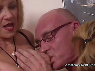 Experienced Granny watches and joins in with inexperienced younger amateur