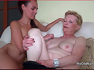 Lucy Lesbian Kisses & Licks Old Granny