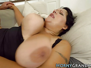 Chubby grandma with huge tits facialized