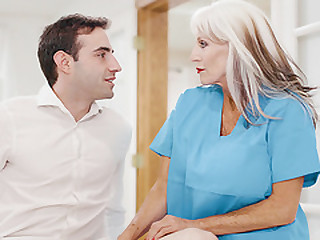 Old and Grey Doc Enjoys Her Much Younger Client's Company