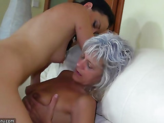 OldNanny Old skinny woman with strapon, pretty girl and guy