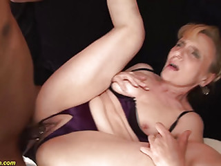 ugly 74 years old mom enjoys her first black dick
