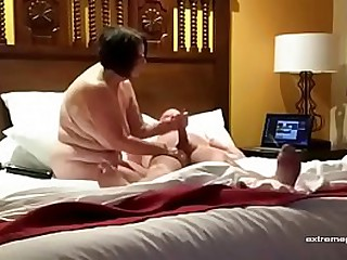 my Bbw granny gives a handjob (hidden camera)