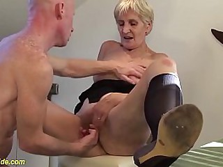 hairy bush 83 years old big natural breast granny enjoys rough big cock kitchen sex by her horny stepson