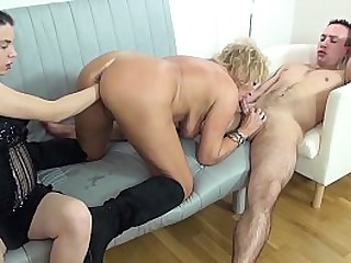 chubby big boob 74 years old granny enjoys her first rough threesome fisting and fucking porn lesson
