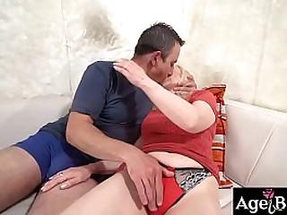 Rob starts licking granny Nanney's twat
