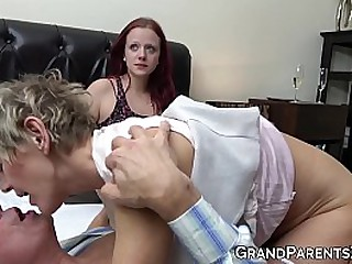 Granny shares husbands cock with redhead