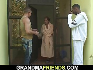 Interracial fuck by two granny guys