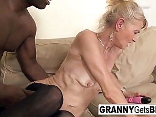 Hot granny gets filled with black cock