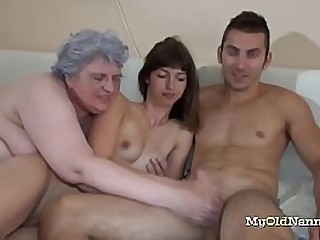 Nasty granny joins this horny couple for some threesome action