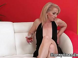 Horny granny rides cock