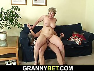 Shaved pussy granny sucks and rides his big cock
