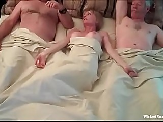 Hotel Threesome For Horny Granny