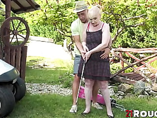 Granny bangs golf instructor outdoor