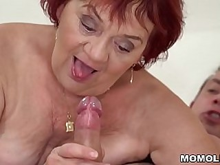 Granny enjoys her y. lover's company