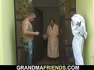 Interracial threesome sex with granny