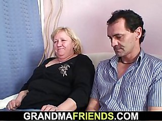 Threesome with busty old granny