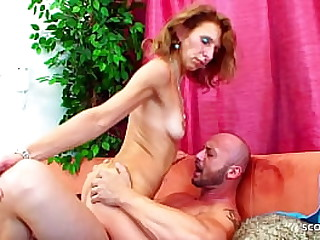 Big Dick Step son Seduce Skinny Redhead Mature with Hairy Pussy to Fuck