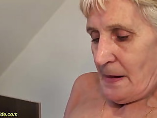 hairy bush 83 years old big natural breast granny enjoys a wild big cock kitchen fucking by her horny stepson