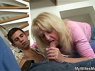 Blonde granny fucked with big cock