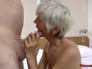 Short hair skinny Granny fucked hard by a big man