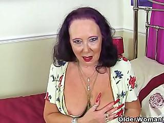 English granny Zadi doesn't wear knickers underneath her flower dress and shamelessly dildo fucks her needy fanny. Bonus video: UK gilf Claire Knight.