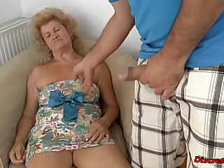 Old Mature blonde woman likes kinky sex wand feet licking