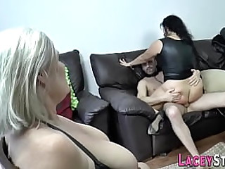 Latex clad granny in bdsm threesome sucks cock and gets pounded